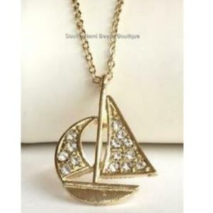 """Jewelry - Gold Crystal Sailboat Necklace Nautical 16-19"""""""